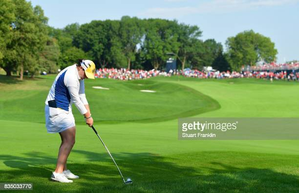 Caroline Masson of Team Europe plays a shot during the morning foursomes matches of The Solheim Cup at Des Moines Golf and Country Club on August 18...