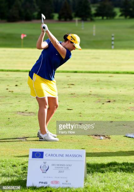 Caroline Masson of Team Europe warms up on the range during practice for the Solheim Cup at the Des Moines Golf and Country Club on August 17 2017 in...