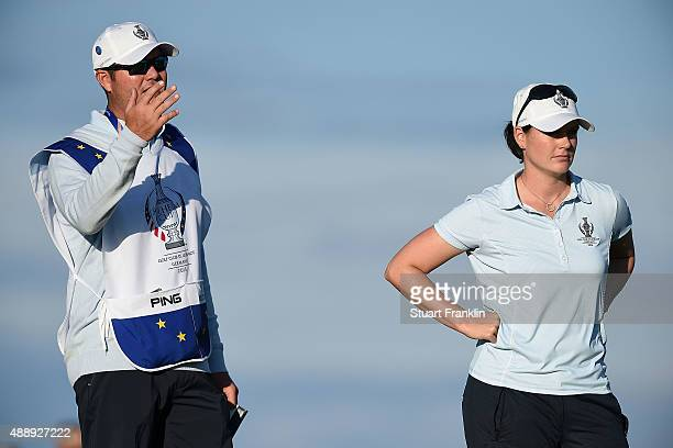 Caroline Masson of the European Team looks on during the afternoon fourball matches on day one of the Solheim Cup 2015 at St LeonRot Golf Club on...