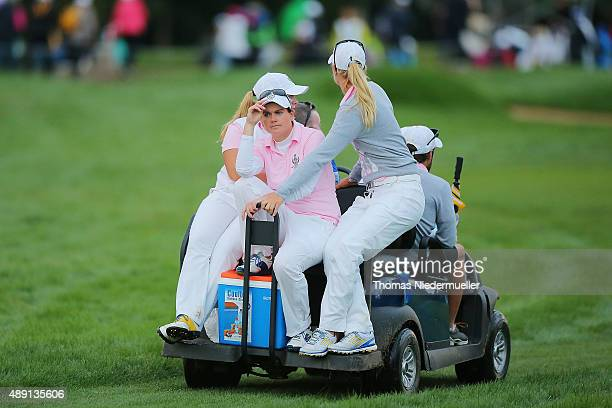 Caroline Masson of the European Team looks on during the afternoon fourball matches in the 2015 Solheim Cup match at St LeonRot Golf Club on...
