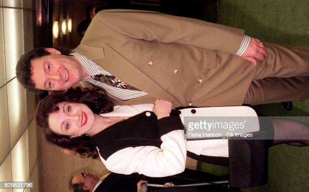 Caroline O'Connor who plays Mabel Normand in the West End stage play Mack and Mabel with comapanion Barrie Shaw at the reception prior to the Evening...
