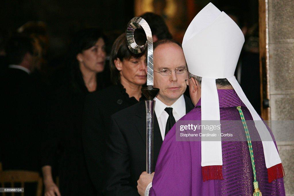 HRH Caroline of Hanover, HSH Prince Albert II of Monaco and HSH Princess Stephanie of Monaco at the mass marking the first anniversary of Prince Rainier III's death.