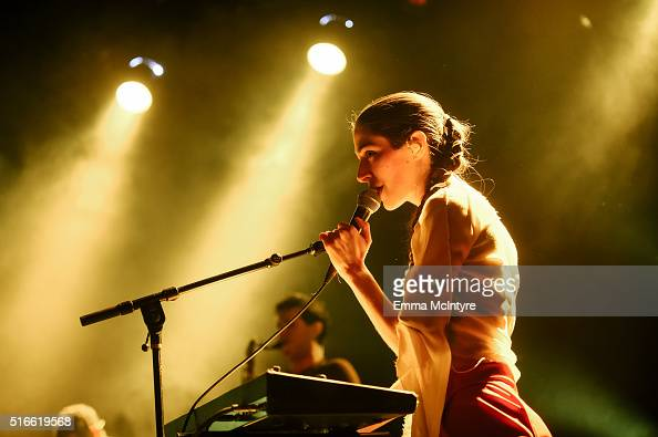 Caroline Polachek of the band Chairlift performs onstage at El Rey Theatre on March 19 2016 in Los Angeles California