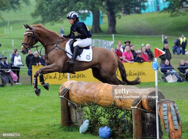 Caroline Powell riding Onwards And Upwards compete in the CIC3* cross country event during the Bramham International Horse Trials at Bramham Park...