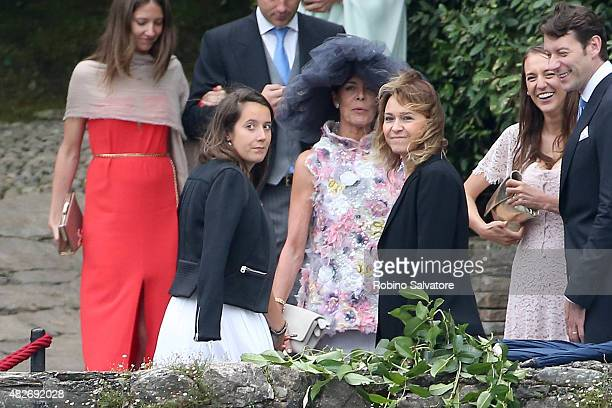 Caroline Princess of Hanover arrives at Pierre Casiraghi and Beatrice Borromeo Wedding Ceremony on August 1 2015 in Verbania Italy