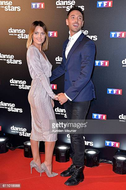Caroline Receveur and Maxime Dereymez pose during the 'Danses With The Stars' photocall on September 28 2016 in Paris France