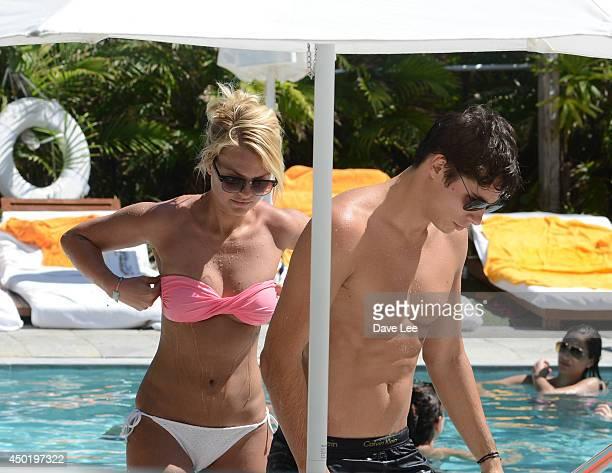 Caroline Receveur and Valentin Lucas sighting at Shore Club Hotel on June 6 2014 in Miami Florida