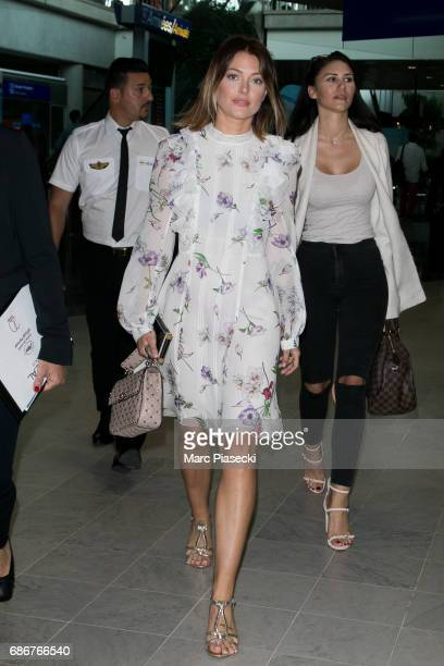 Caroline Receveur arrives at Nice airport during the 70th annual Cannes Film Festival at on May 22 2017 in Cannes France