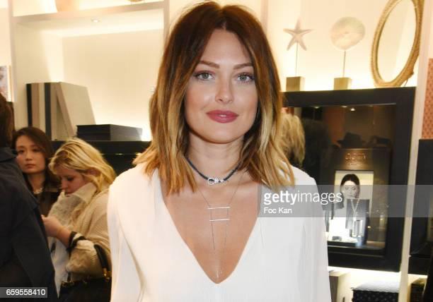 Caroline Receveur attends Caroline Receveur and Kika Prette Denim Capsule Collection Hosted by APM Monaco at APM Monaco Paris Opera shop on March 28...