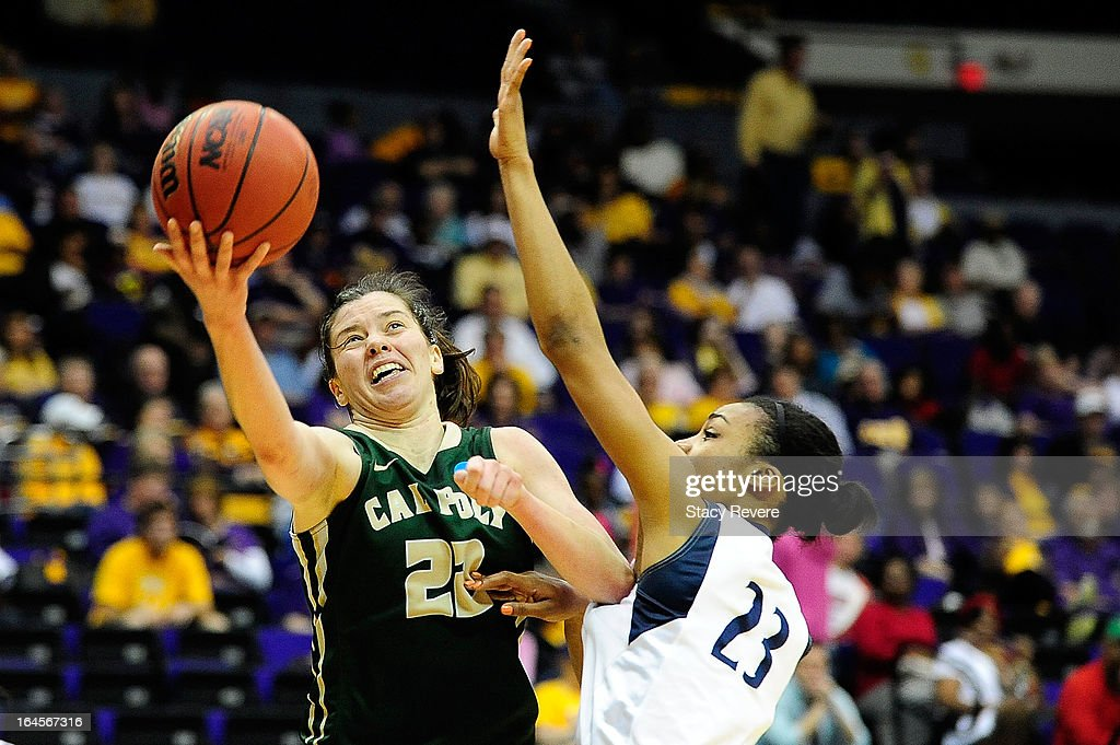 Caroline Reeves #22 of the Cal Poly Mustangs shoots over Ariel Edwards #23 of the Penn State Lady Lions during the first round of the NCAA Tournament at the Pete Maravich Assembly Center on March 24, 2013 in Baton Rouge, Louisiana. Penn State won the game 85-55.