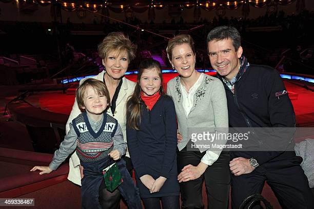 Caroline Reiber and her son Marcus Maier with wife Cathrin and children Laurentius and Magdalena attend the Circus Krone Christmas Show at Circus...