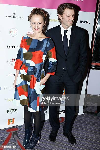 Caroline Roux and Francois Baroin attend the 'Prix De La Femme D'Influence 2014' Ceremony At Hotel Du Louvre on December 8 2014 in Paris France