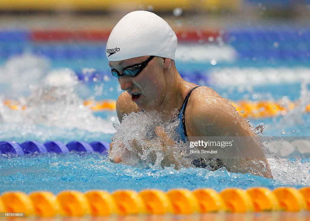 Caroline Ruhnau of SG Essen competes in the women's 50m breaststroke heat during day one of the German Swimming Championship 2013 at the Eurosportpark on April 26, 2013 in Berlin, Germany.