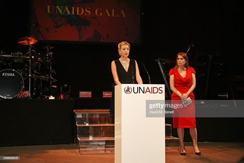 Caroline Rupert (L) speaks on stage as Princess Eugenie of York looks on at the UNAIDS Gala during Art Basel 2016 at Design Miami/ Basel on June 13, 2016 in Basel, Switzerland.