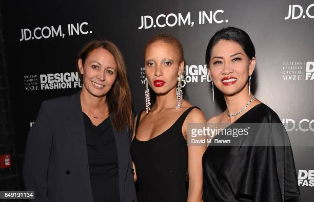 Caroline Rush Adwoa Aboah and Xia Ding attend the BFC Vogue Fashion Fund and JDCOM cocktail party hosted by Caroline Rush and Xia Ding at the...