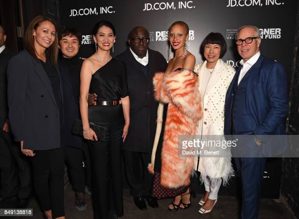 Caroline Rush Huishan Zhang Xia Ding Edward Enninful Adwoa Aboah Angelica Cheung and Tommy Hilfiger attend the BFC Vogue Fashion Fund and JDCOM...