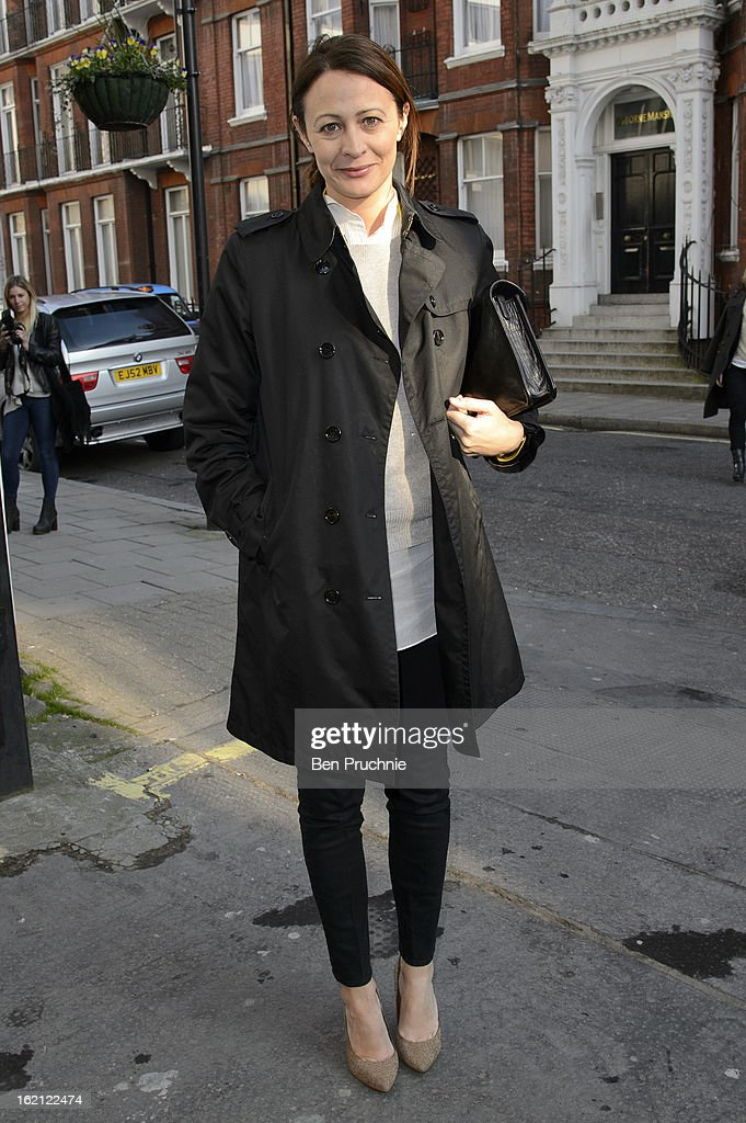 Caroline Rush is pictured arriving at the Anya Hindmarch catwalk show during London Fashion Week on February 19, 2013 in London, England.