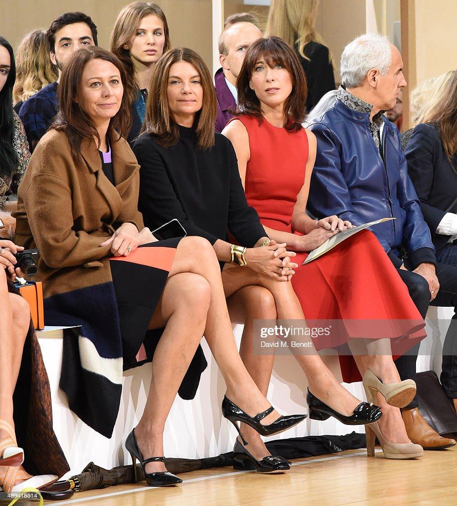 Caroline Rush, Natalie Massenet and Samantha Cameron attend the Roksanda show during London Fashion Week Spring/Summer 2016 at Bryanston Place on September 21, 2015 in London, England.