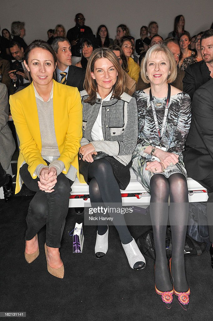 Caroline Rush, <a gi-track='captionPersonalityLinkClicked' href=/galleries/search?phrase=Natalie+Massenet&family=editorial&specificpeople=2118990 ng-click='$event.stopPropagation()'>Natalie Massenet</a> and Theresa May attend the Maria Grachvogel show during London Fashion Week Fall/Winter 2013/14 at Somerset House on February 19, 2013 in London, England.