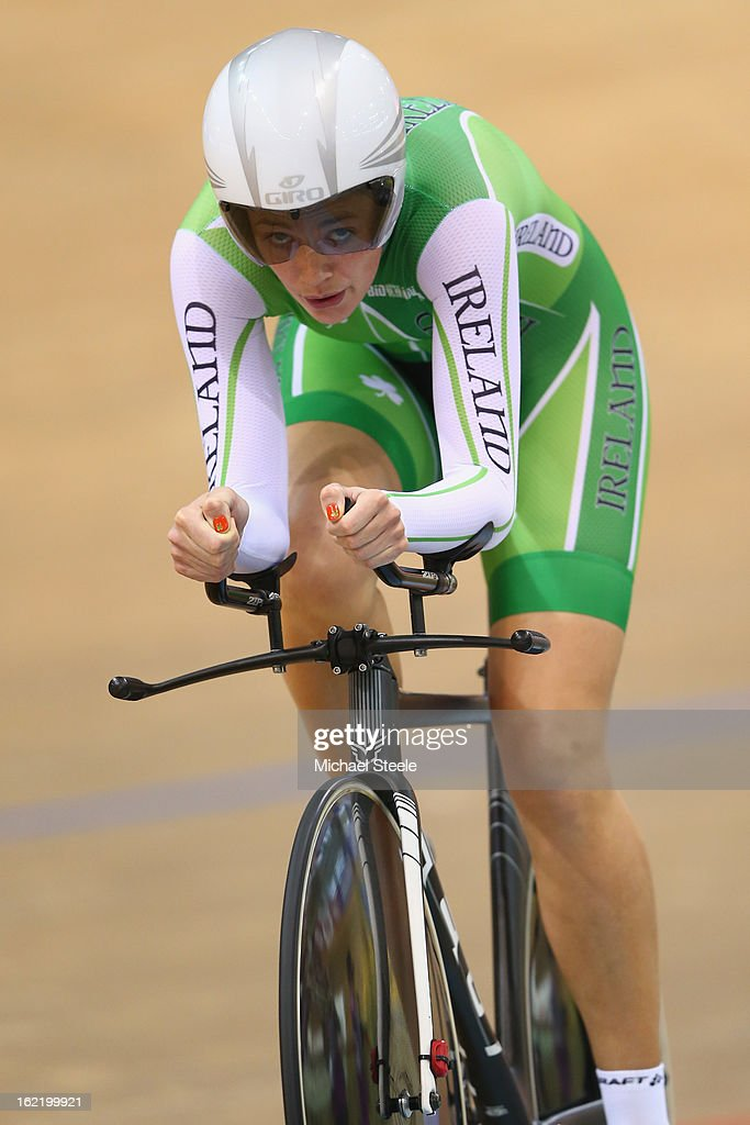 Caroline Ryan of Ireland during the women's individual pursuit heats on day one of the UCI Track World Championships at Minsk Arena on February 20, 2013 in Minsk, Belarus.