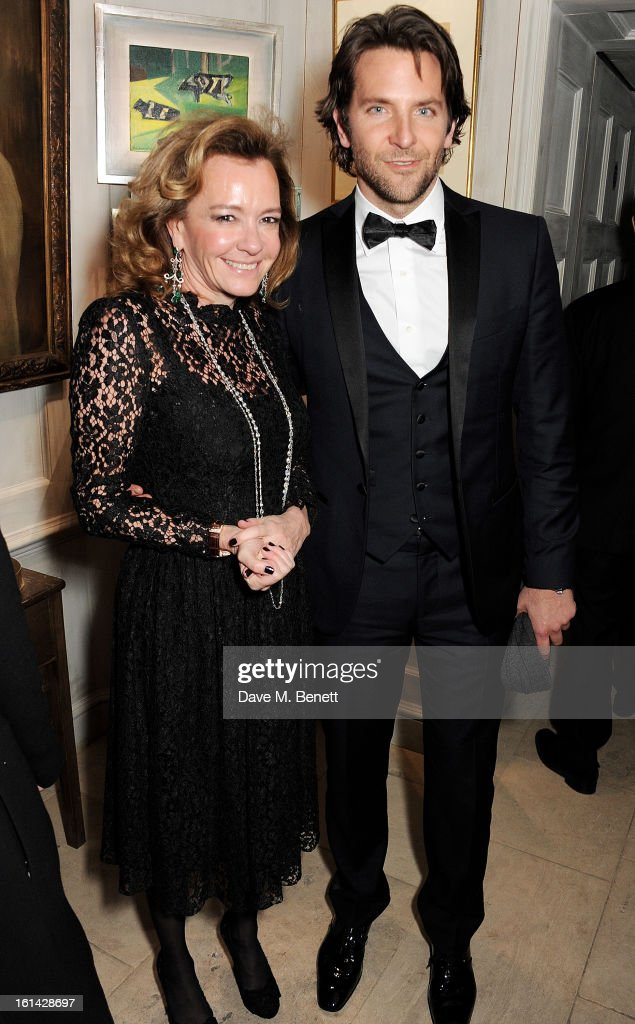 Caroline Scheufele (L) and Bradley Cooper attend The Weinstein Company and Entertainment Film Distributors Post-BAFTA Party hosted by Chopard and Grey Goose at LouLou's on February 10, 2013 in London, England.