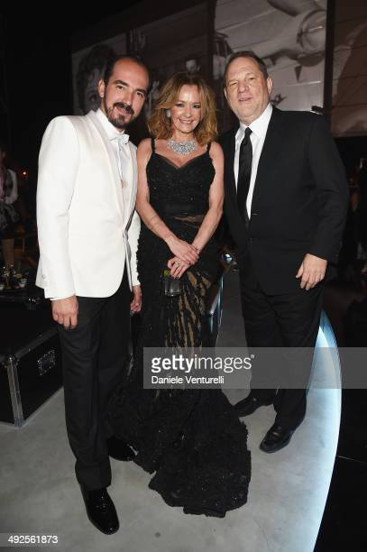 Caroline Scheufele and Harvey Weinstein attend the Chopard Backstage Cocktail Afterparty at the CannesMandelieu Aerodrome during the 67th Annual...