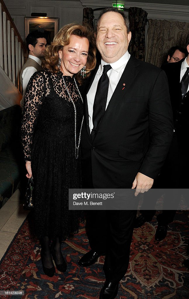 Caroline Scheufele (L) and <a gi-track='captionPersonalityLinkClicked' href=/galleries/search?phrase=Harvey+Weinstein&family=editorial&specificpeople=201749 ng-click='$event.stopPropagation()'>Harvey Weinstein</a> attend The Weinstein Company and Entertainment Film Distributors Post-BAFTA Party hosted by Chopard and Grey Goose at LouLou's on February 10, 2013 in London, England.