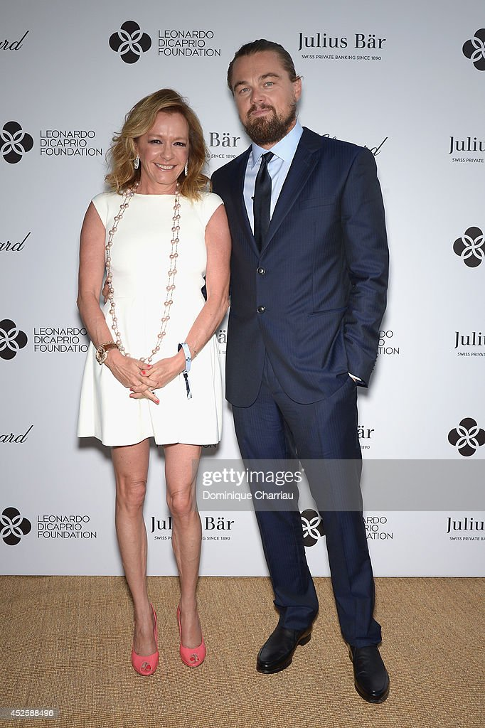 Caroline Scheufele and <a gi-track='captionPersonalityLinkClicked' href=/galleries/search?phrase=Leonardo+DiCaprio&family=editorial&specificpeople=201635 ng-click='$event.stopPropagation()'>Leonardo DiCaprio</a> attend the Leonardo Dicaprio Gala at Domaine Bertaud Belieu on July 23, 2014 in Saint-Tropez, France.