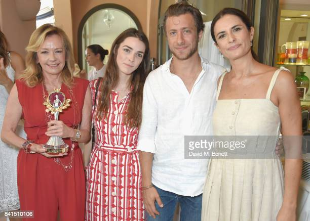 Caroline Scheufele Bee Shaffer Francesco Carrozzini and Livia Firth attend an intimate lunch hosted by Livia Firth Carlo Capasa and Caroline...