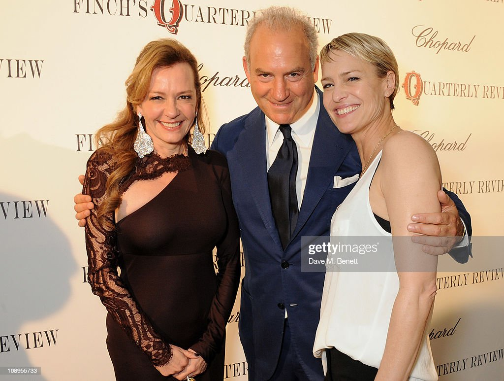 Caroline Scheufele, Charles Finch and Robin Wright attend the annual Finch's Quarterly Review Filmmakers Dinner hosted by Charles Finch, Caroline Scheufele and Nick Foulkes at Hotel Du Cap Eden Roc on May 17, 2013 in Antibes, France.