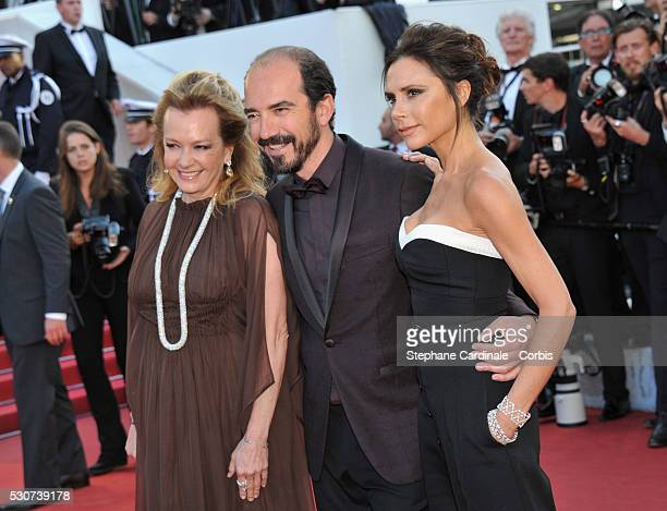 Caroline Scheufele designer Victoria Beckham and Alexis Veller attend the 'Cafe Society' premiere and the Opening Night Gala during the 69th annual...