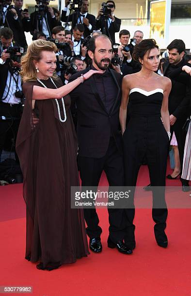 Caroline Scheufele Alexis Veller and Victoria Beckham attend the 'Cafe Society' premiere and the Opening Night Gala during the 69th annual Cannes...