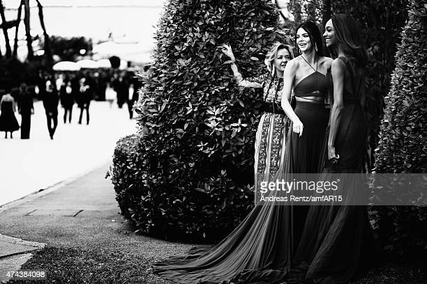 Caroline Scheufele of Chopard models Kendall Jenner and Jourdan Dunn attend amfAR's 22nd Cinema Against AIDS Gala Presented By Bold Films And Harry...