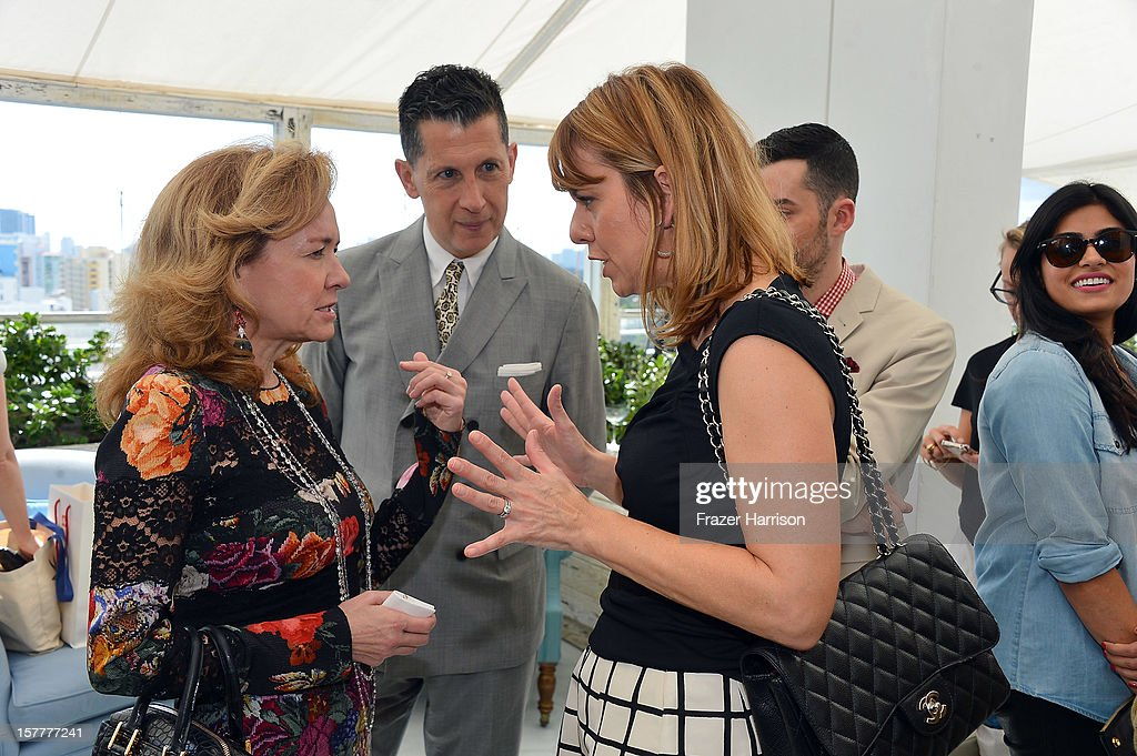 Caroline Scheufele, W's Editor-in-Chief Stefano Tonchi and Vice President and Publisher Lucy Kriz attend the Chopard and W Magazine 'Marilyn Forever' exhibition at Soho Beach House on December 6, 2012 during Art Basel Miami in Miami Beach, Florida.