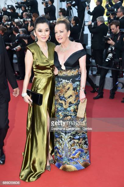 Caroline Scheufeule and a guest attend the 'Based On A True Story' screening during the 70th annual Cannes Film Festival at Palais des Festivals on...