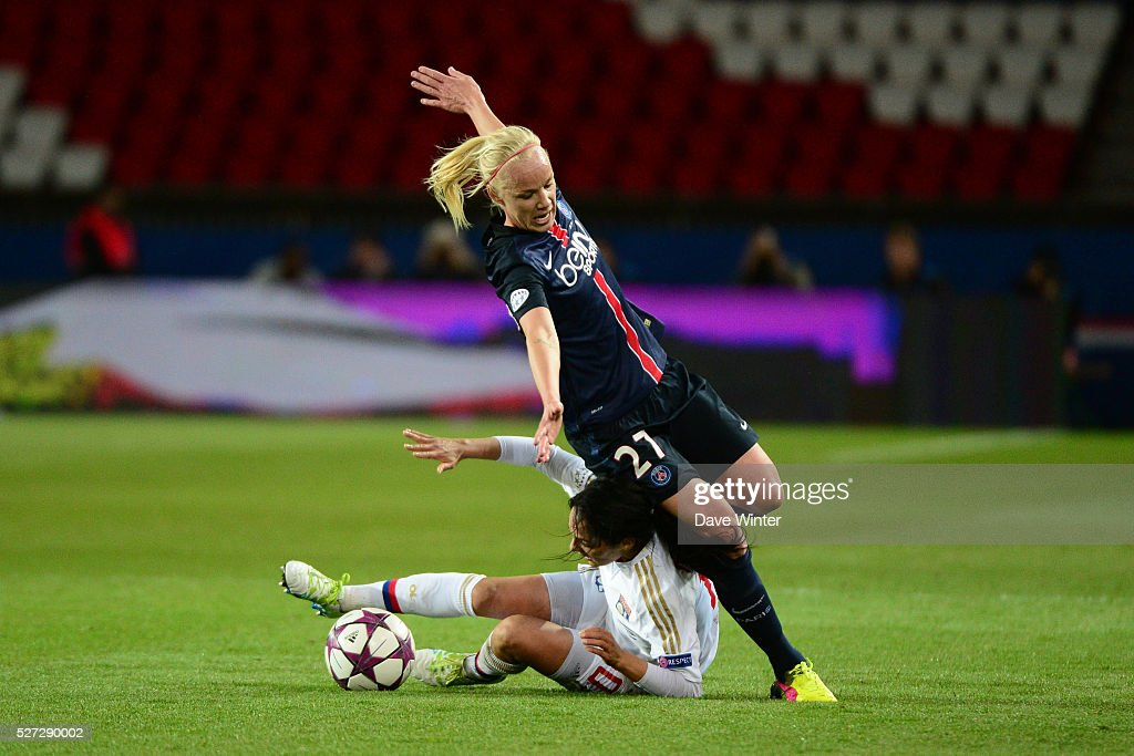Caroline Seger of PSG and Louisa Necib of Lyon battle during the Uefa Women's Champions League match, semi-final, second leg, between Paris Saint Germain and Olympique Lyonnais at Parc des Princes on May 2, 2016 in Paris, France.