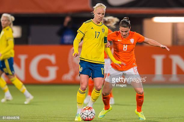 Caroline Seger of Sweden Sherida Spitse of the Netherlands during the 2016 UEFA Women's Olympic Qualifying Tournament match between Netherlands and...