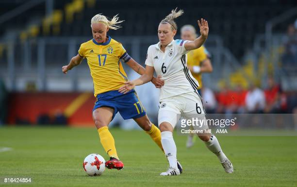Caroline Seger of Sweden Women and Kristin Demann of Germany Women during the UEFA Women's Euro 2017 Group B match between Germany and Sweden at Rat...