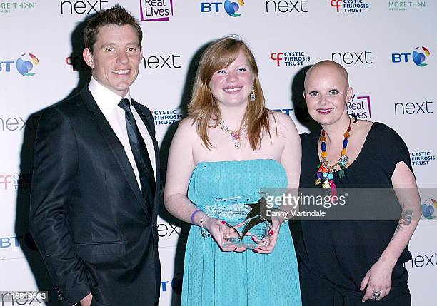 Caroline Shorthouse aged 16 from Blackburn with her Adult Fighting Spirit award with presenters Ben Shephard and Gail Porter during the Breathing...