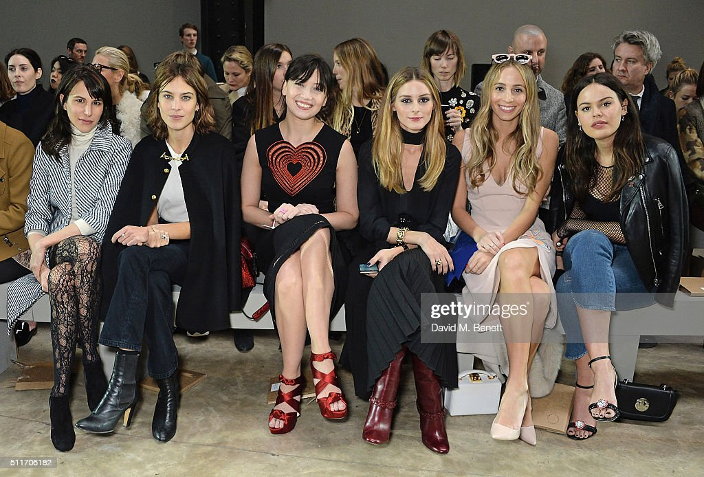 Caroline Sieber, Alexa Chung, Daisy Lowe, Olivia Palemro, Harley Viera Newton and Atlanta De Cadenet attend the Christopher Kane show during London Fashion Week Autumn/Winter 2016/17 at Tate Modern on February 22, 2016 in London, England.