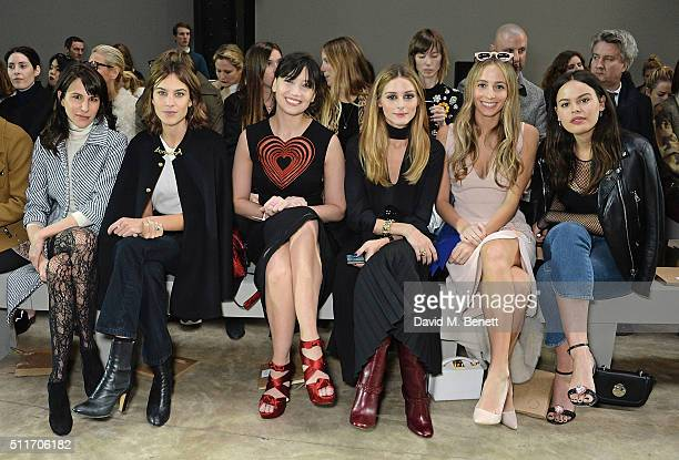 Caroline Sieber Alexa Chung Daisy Lowe Olivia Palemro Harley Viera Newton and Atlanta De Cadenet attend the Christopher Kane show during London...