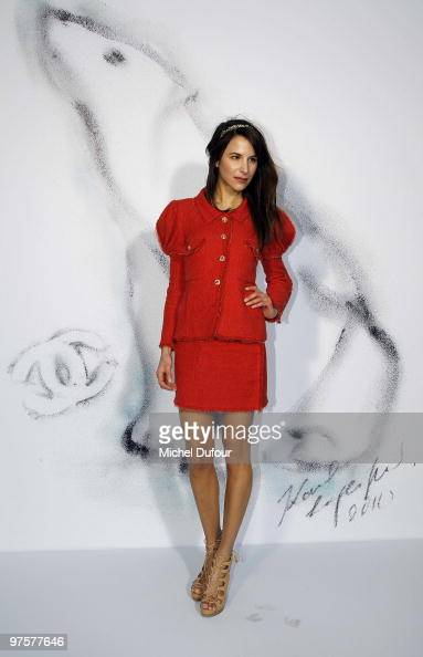 Caroline Sieber arrives during the Chanel Ready to Wear show as part of the Paris Womenswear Fashion Week Fall/Winter 2011 at Grand Palais on March 9...