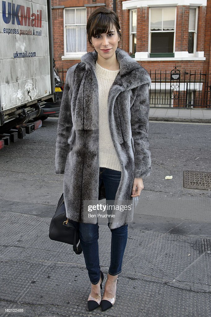 Caroline Sieber is pictured arriving at the Anya Hindmarch catwalk show during London Fashion Week on February 19, 2013 in London, England.
