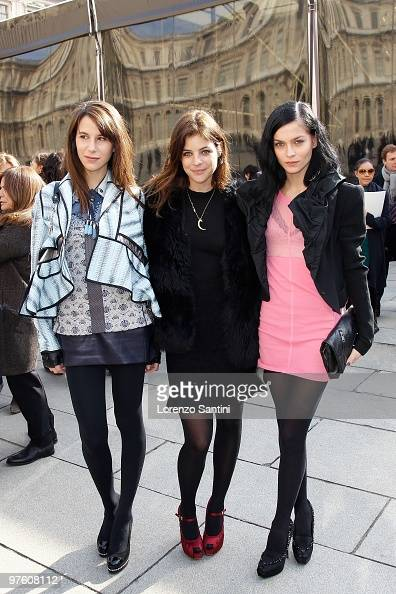 Caroline Sieber Julia RestoinRoitfeld and Leigh Lezark arrive at the Louis Vuitton Ready to Wear show as part of the Paris Womenswear Fashion Week...