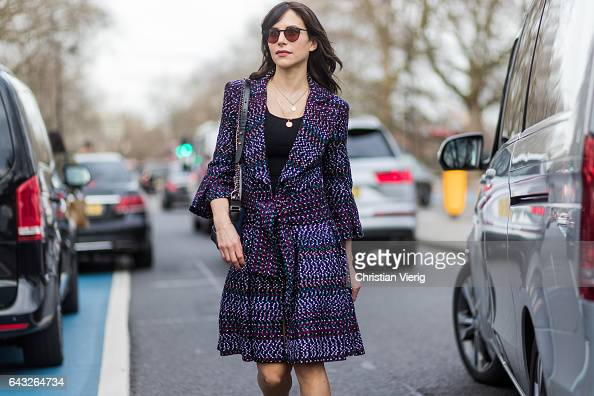 Caroline Sieber wearing a belted coat outside Christopher Kane on day 4 of the London Fashion Week February 2017 collections on February 20 2017 in...