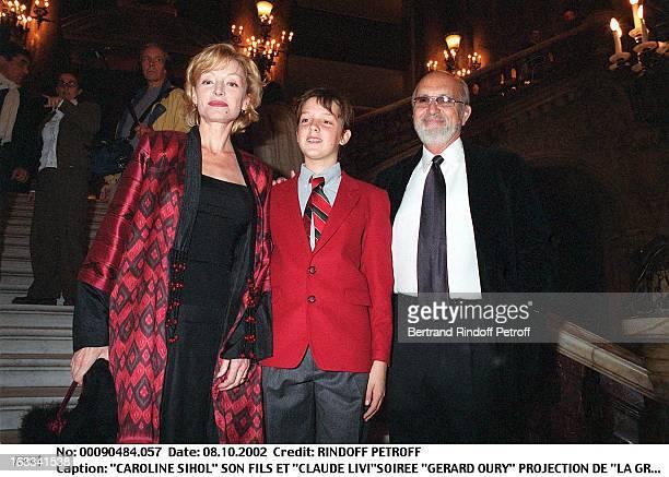 Caroline Sihol her son and 'Claude Livi''Gerard Oury' film screening of 'La Grande Vadrouille' at the Garnier opera