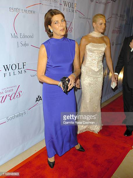 Caroline The Princess of Hanover and Charlene Wittstock attend the 25th Anniversary Princess Grace Awards Gala at Sotheby's on October 25th 2007 in...