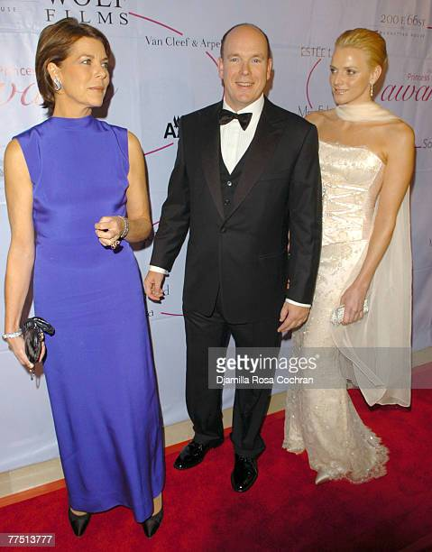 Caroline The Princess of Hanover Prince Albert of Monaco and Charlene Wittstock attend the 25th Anniversary Princess Grace Awards Gala at Sotheby's...