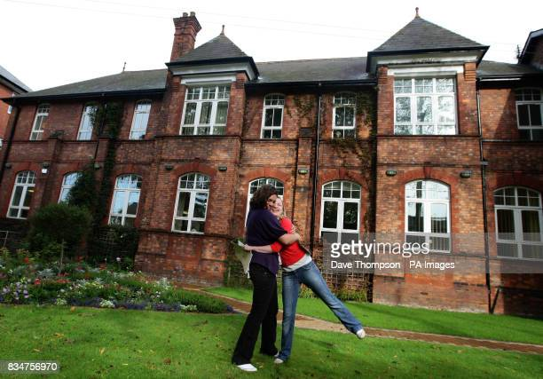 Caroline Thompson and Alexandra Caulfield celebrate getting 4 grade A Alevels at Withington Girls School in Manchester