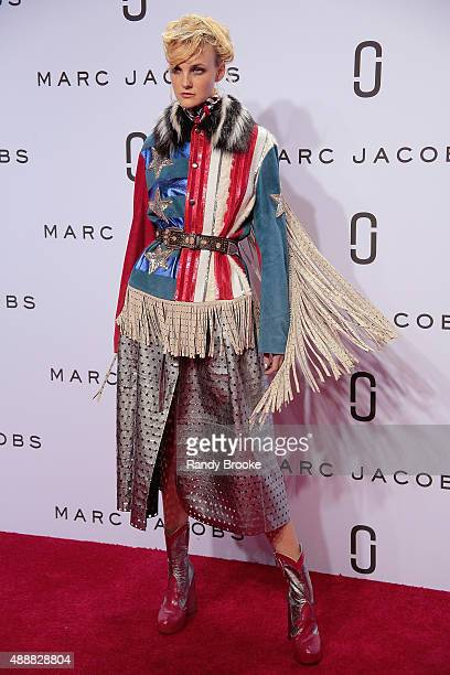 Caroline Trentini poses on the red carpet during the Marc Jacobs Runway Spring 2016 New York Fashion Week The Shows at Ziegfeld Theater on September...
